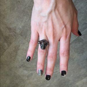 Black silver skull ring rhinestone hot Topic goth